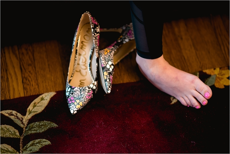 Bridesmaids shoes and getting ready photos