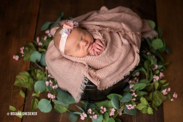 Newborn baby studio photo session, baby in basket with pink wrap and greenery.