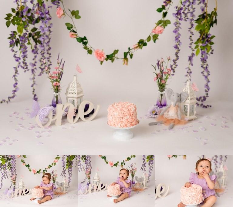 cake setup - Cake Smash Photoshoot Noblesville, Indiana